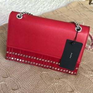 Studded Red Shoulder Bag